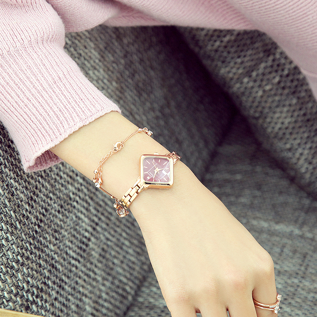 Kimio Brand Woman Bracelet Watch Simple Ladies Rectangle Dress Quartz Watch Stainless Steel Band Wrist Watches For Women Clock