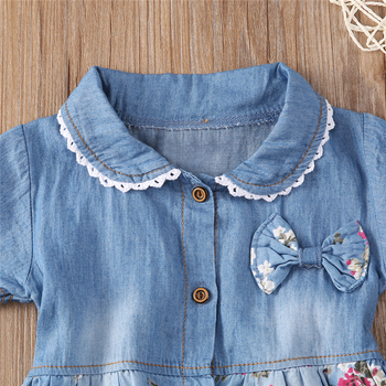 Denim Dress For Girl Baby 2018 New Summer Flower Princess Dress Party Wedding Pageant Dresses Clothes 3