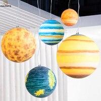 Novelty Planet hanging pendant Lights Post Modern Resin Earth pendant lamp Restaurant Living Room hanglamp deco lighting fixture