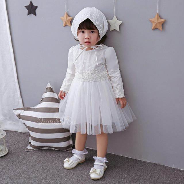 Long Sleeve Baby Girl Christening Dress Lace Party Dress Infant Flower Girl Dress Baptism Dress Baby Girl Clothes