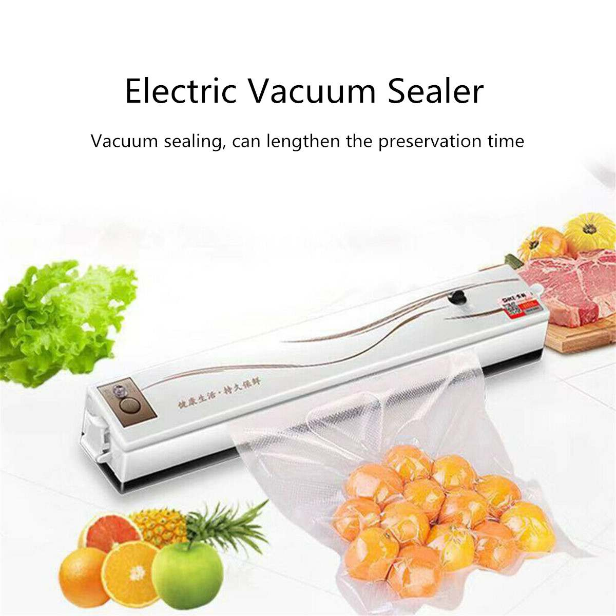 Electric Food Vacuum Sealer Packaging Machine 220V Vaccum Packer Vacuum Sealing Portable Kitchen Home Preservation Machine WhiteElectric Food Vacuum Sealer Packaging Machine 220V Vaccum Packer Vacuum Sealing Portable Kitchen Home Preservation Machine White
