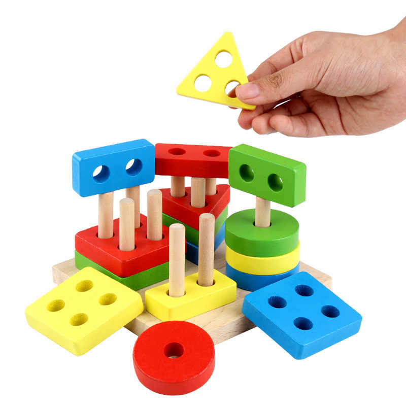 Colorful Baby Brain Development Toys Mounts Match Toy Geometric Sorting Board Wooden Block Kids Educational Toys Building Blocks