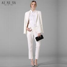 e522a4d1 Primavera moda trajes de negocios de las mujeres Soild elegante pantalones  trajes único Breasted mujer señoras Oficina uniformes.