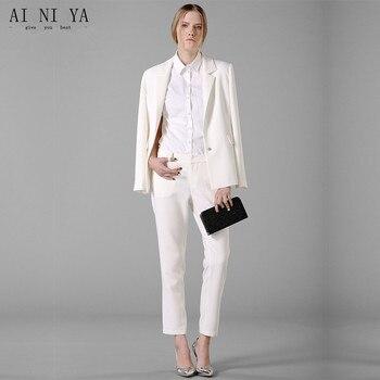 Spring Fashion Women's Business Suits Soild Elegant Pant Suits Single Breasted Female Office Uniform Ladies Touser Suit