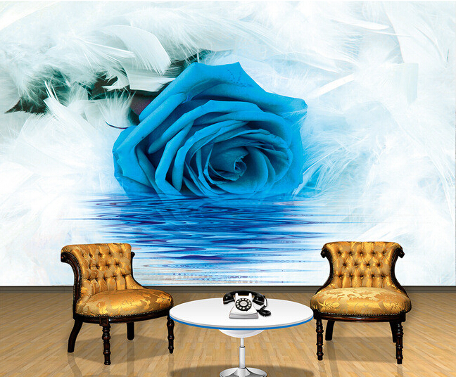 Custom papel DE parede 3 d, blue roses and feather murals for the sitting room the bedroom TV setting wall waterproof wallpaper custom wallpaper ceiling murals palm blue sky for the living room ceiling apartment hotel background wall vinyl papel de parede