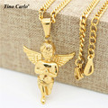 Tino Carlo 2017 New Men's 3D Wings Baby Angel Necklace Gold Plated S.Steel Women's Pray Angel Pendant Love Gift Necklace