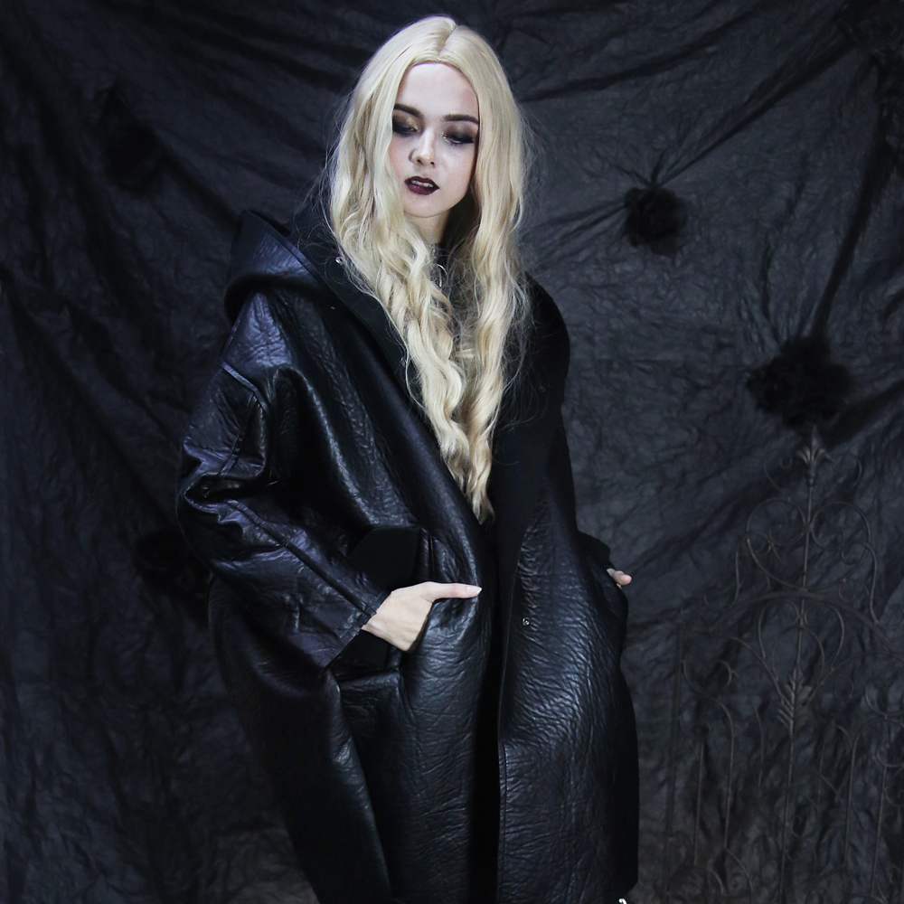 Women Fashion Loose Winter PU   Leather   Coat Hoodies Windbreak Black Warm   Suede   Jacket Oversize Faux   Leather   Long Coat Female