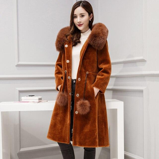 0a9d45f346bc8 Пальто из натурального меха с капюшоном лисьего и длинным рукавом 2017 зимняя  куртка женская верхняя одежда китайские модные шерстян