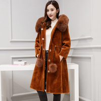 real fur coat with fox fur hood and long sleeve 2017 winter jacket women outerwear china fashion wool coats