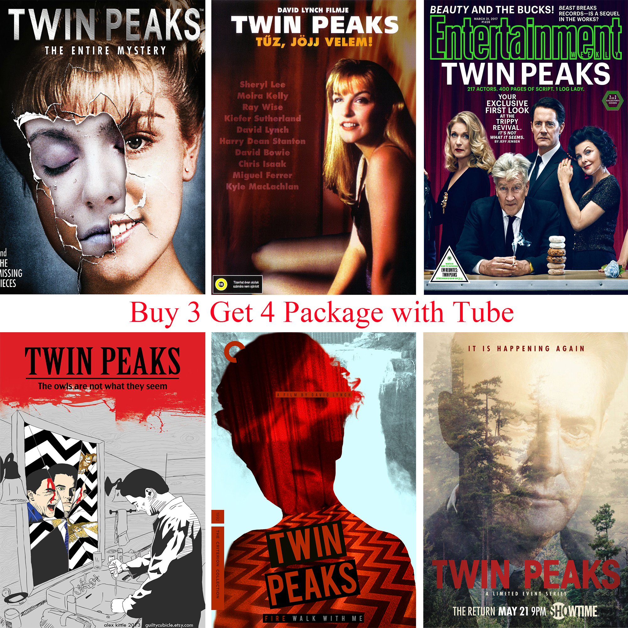 TWIN PEAKS Posters Movie Wall Stickers White Coated Paper Prints Clear Image Home Decoration for Livingroom Bedroom Bar