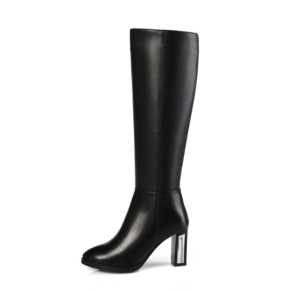 ФОТО Nice Fashion Women Knee-High Boots Round Toe Square Heels Boots Beautiful Black Shoes Woman US Size 3.5-13