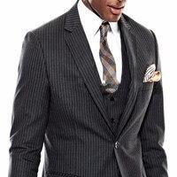 2017 nieuwe Custom Made Donkergrijs Krijtstreep bruiloft Mannen Pak Pinstriped Blazer (Jas + Broek + Vest) Formele terno masculino heren Suits
