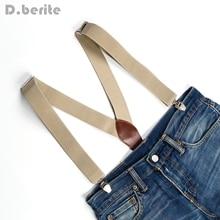 New Men's Suspenders Braces Unisex Adjustable Metal Clip-on Solid Beiges BD601
