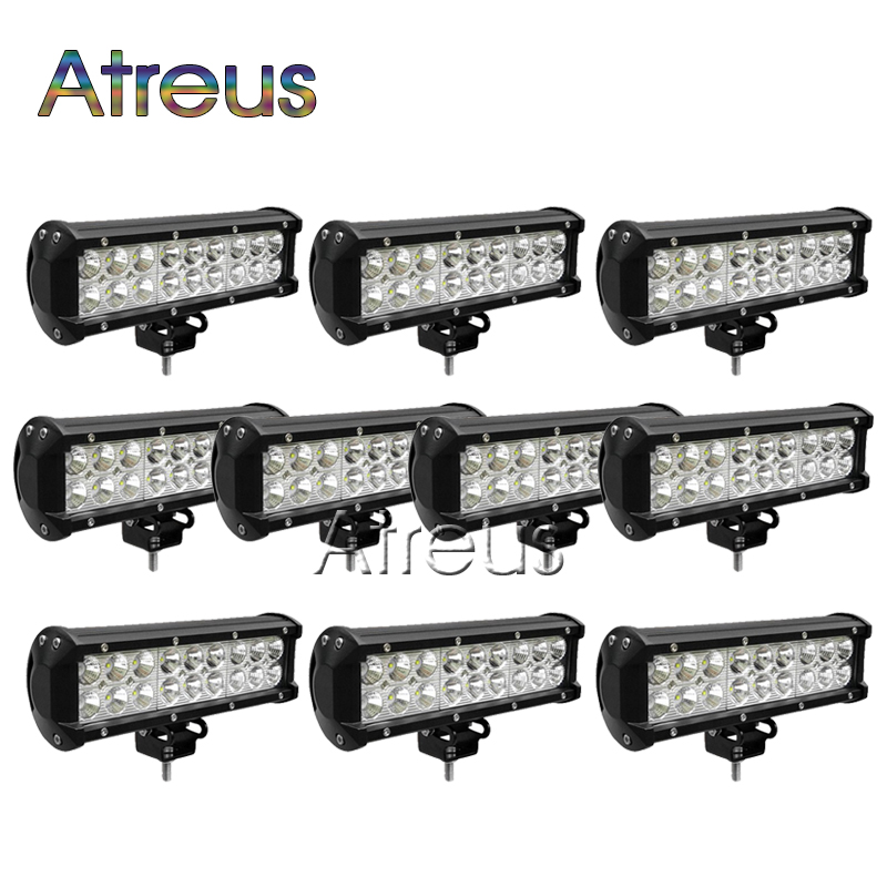 10Pcs 9Inch 54W Car LED Work Light Bar 12V Spot DRL For Jeep ATV 4X4 Truck 4WD Offroad Trailer Boat Automobiles Driving Fog Lamp 18w car led work light bar 12v 24v spot 4d lens drl for atv 4x4 truck offroad trailer motorcycle automobiles driving fog lights