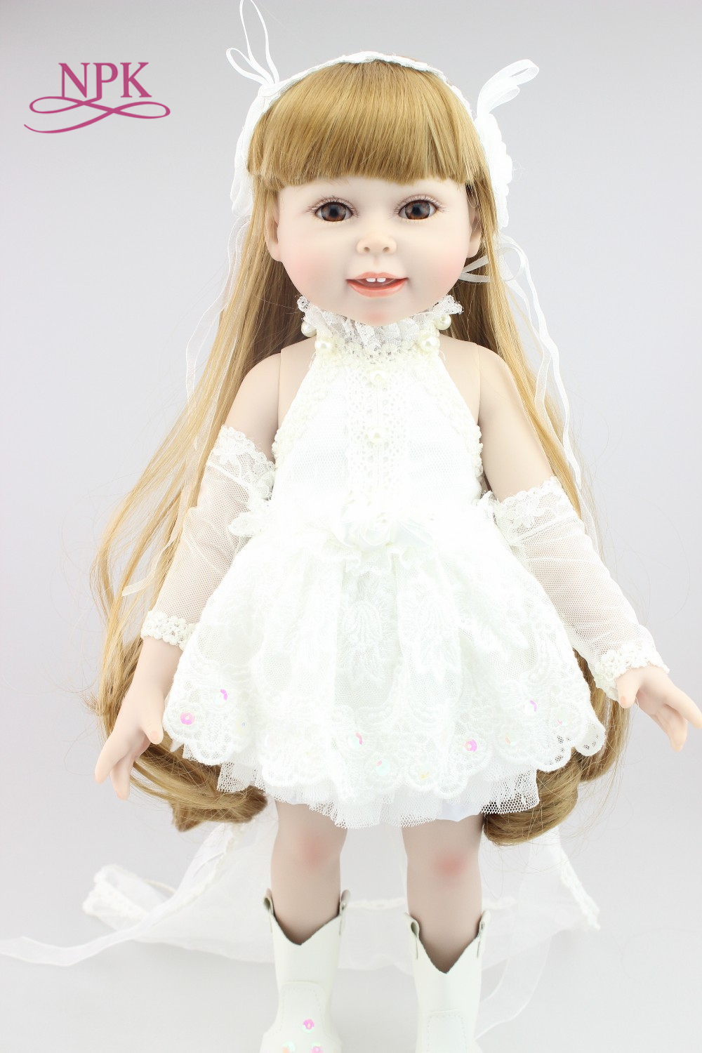 NPK New design 18inches fashion play doll with  White skirt education toy for girls birthday Gift or christmas giftsNPK New design 18inches fashion play doll with  White skirt education toy for girls birthday Gift or christmas gifts