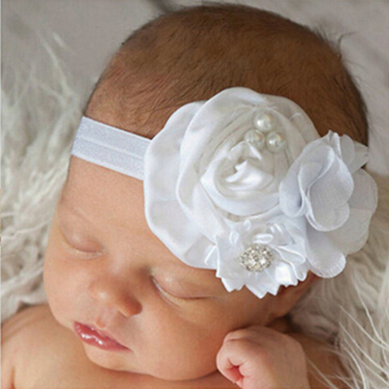 1 PC Kids  Flower Headband Pearl Diamond Kids Hair Accessories New Fashion Hair Bands Style Hot Sell Headwear W047 jrfsd 1pcs hot sell girls headband with 3 or 6 flower pearl diamond hair bands headbands for girl elastic kids hair accessories