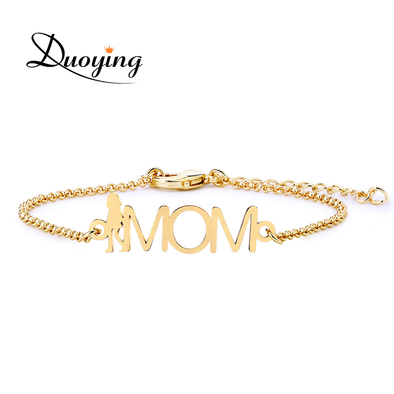 Duoying Custom Mama Bracelet Mom Pesonalized Name Figure Shape Bracelet Mother's Day for Women Festival Charm Bracelet Gift