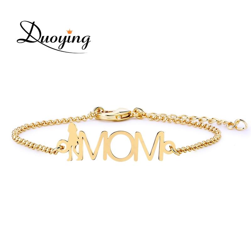 Duoying Custom Mama Bracelet Mom Pesonalized Name Figure Shape Bracelet Mother's Day for Women Festival Charm Bracelet Gift