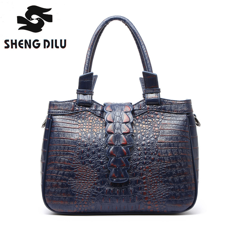 Europe fashion handbag shengdilu brand new 2017 women 100 genuine leather tote Alligator shoulder Messenger bag