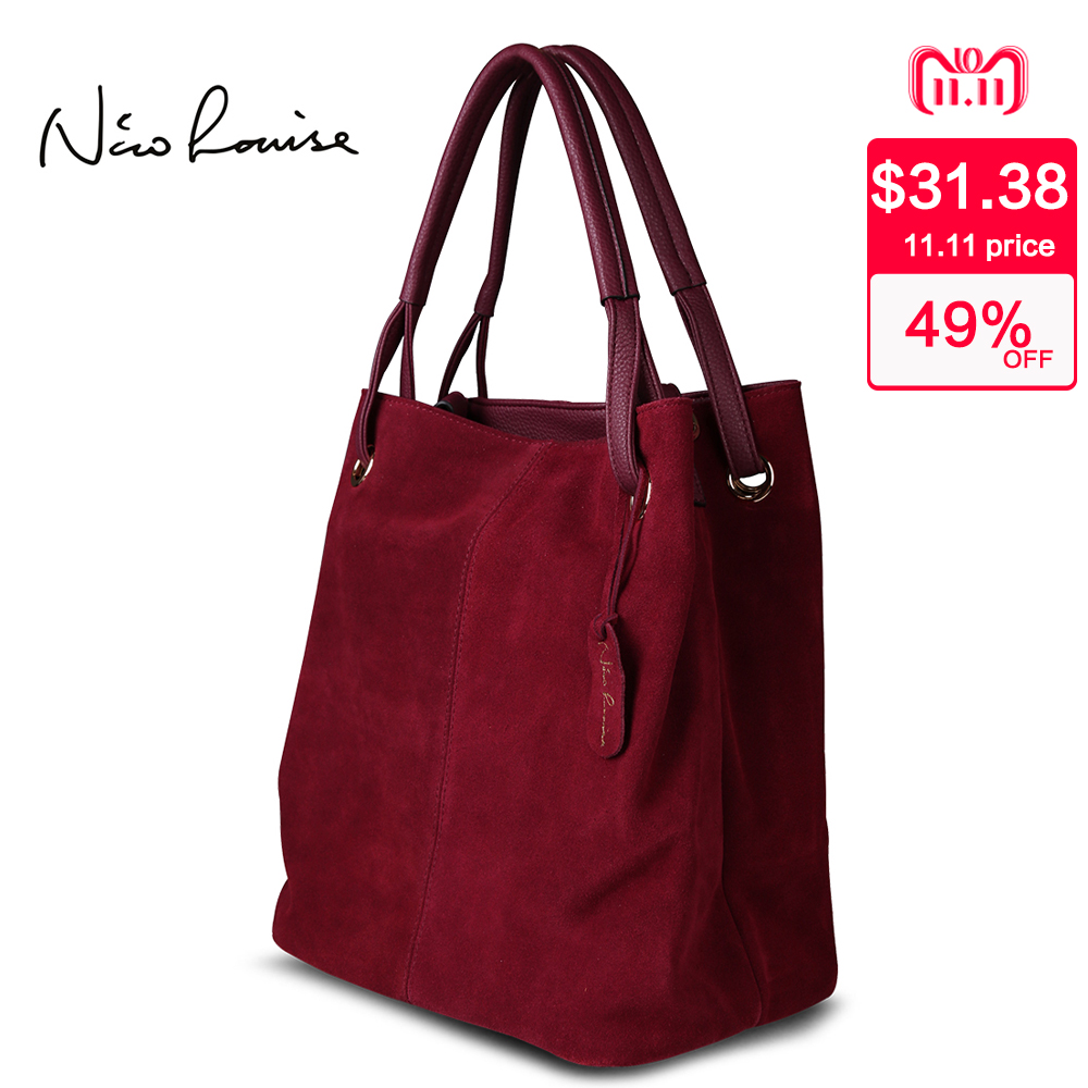 Nico Louise Women Real Split Suede Leather Tote Bag,New Leisure Large Top-handle Bags Lady Casual Crossbody Shoulder Handbag nico louise women real split suede leather bucket bag lady leisure nubuck casual shoulder bags large hobo travelling handbag sac