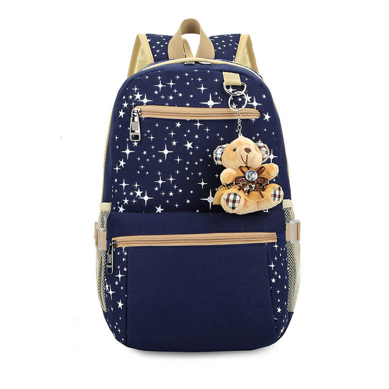 3pcs set Women Backpack School Bags Star Printing Cute Backpacks With Bear For Teenagers Girls LT88