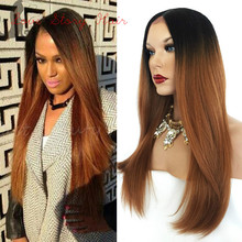 Ombre Color Natural Straight Synthetic Lace Front Wig #1b/30 Heat Resistant Hair Wigs Natural Hairline for black women