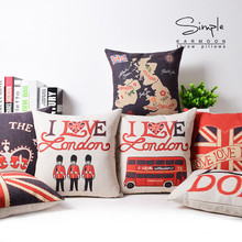 Zipper Thickened Valentine Day Style Textiles London, England Sofa Covers 45Cmx45Cm Square Sofa With Bed Printed Pillow Case