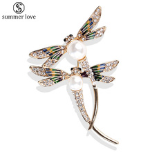 e0a48601950 Dragonfly Brooches Large Couple Flying Insect Brooch For Women Rhinestone  Pins Brooches Wedding Bridal Jewelry Accessories