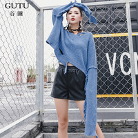 GUTU 2017 Loose Big Size Blue Top New Fashion Autumn Winter Long Sleeve V Collar