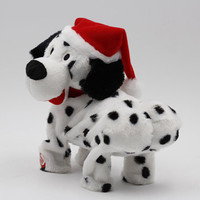 New Christmas Ornaments Christmas Singing And Dancing Puppy Plush Toy Electric Music Rotating Dog Doll Navidad Gift For Kids
