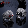 Steel soldier cool punk flower skull with stone ring fashion stainless steel men personality top quality jewelry