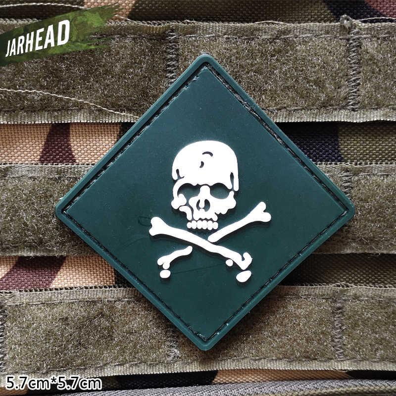 海賊頭蓋骨軍事 Pvc パッチベルクロゴム腕章戦術的なバッジ人格バックパック帽子服ジャケット