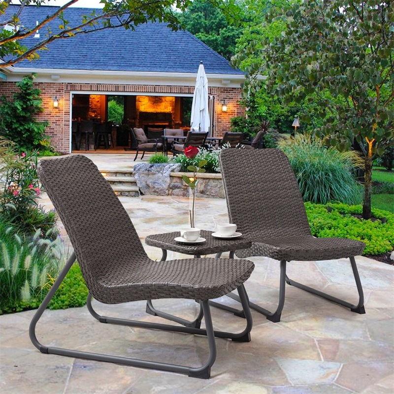3 Pcs Outdoor All Weather Rattan Steel Conversation Chair Table Set Waterproof Cushioned Patio Garden Patio Furniture HW56049