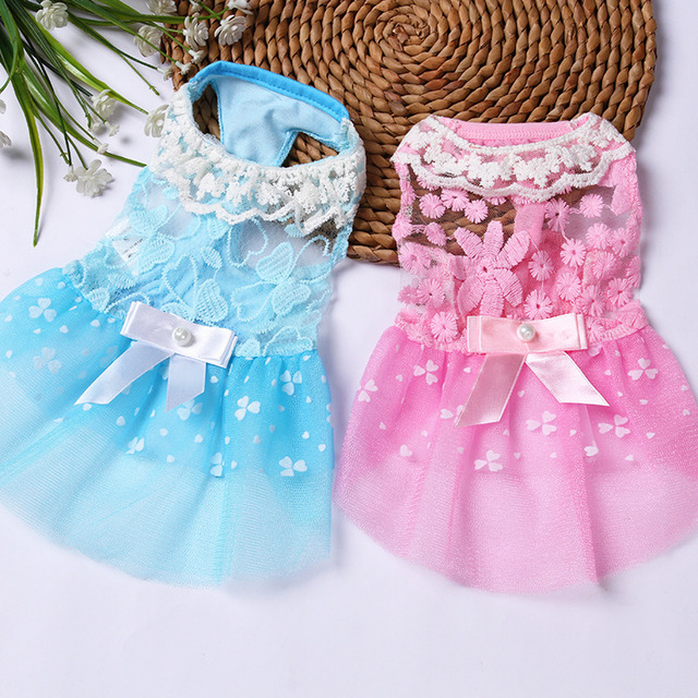 Bajila Summer Breathable Dog Dress Puppy Clothes Wedding Princess Skirt Pink Luxury Puppy Cat Dresses for Small Dog Teddy Spring