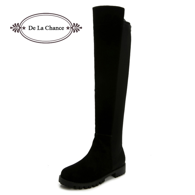 8bcf8980 Mujeres Sexy caña alta botas moda vino rojo negro Suede rodilla planos botas  altas zapatos de