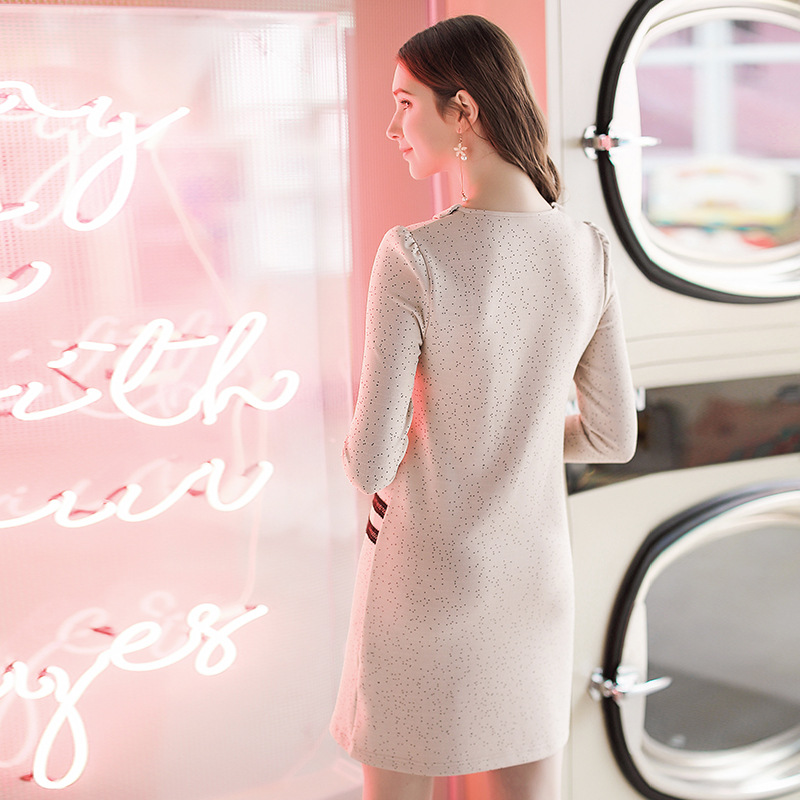 En Madura Moda 2019 Vestido De Ligero Nuevas Y Solapa Forma Primavera Mujeres Las Apricot La Lhq vfgqSwx1