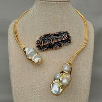 White Keshi Pearl 18 K Yellow Golden Plated Choker Necklace