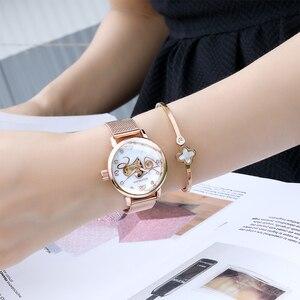 Image 3 - אופנה יוקרה שעון נשים אהבת דפוס אוטומטי מכאני שעונים מלא נירוסטה רוז זהב רשת חגורת גבירותיי שעון יד