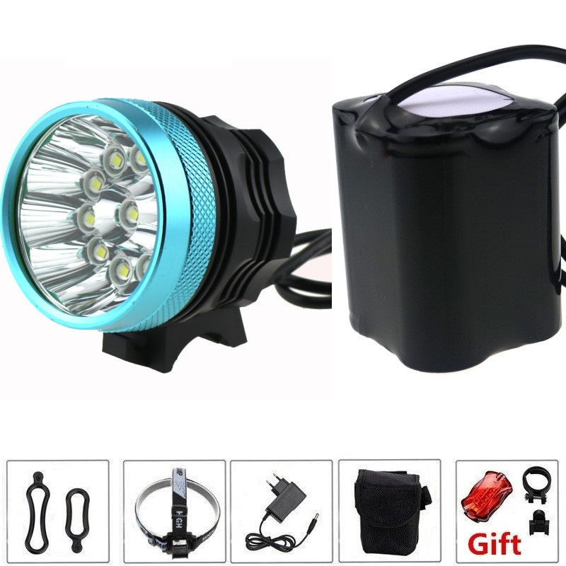 20000 Lumens Bicycle Light 10x Cree XM-T6 LED Bike Flashlight Cycling Headlamp fishing Torch+ 20000mah Battery Pack + Charger 5000 lumens 2x cree xm l u2 led cycling bike bicycle light head front light with 4x18650 battery pack and charger