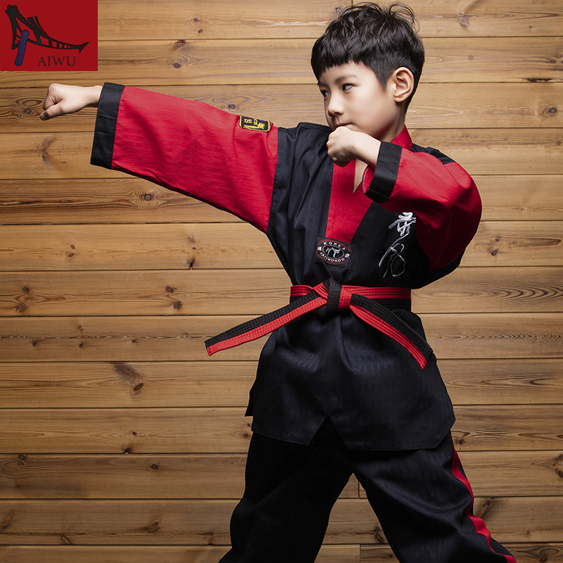 Hot Sale WTF Tae Kwon Do Dobok Clothes Child ITF Taekwondo Uniform  Size XXXS-M Black With RedBlack With White