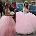 Cristais da faísca Doce 16 Dresses vestido de Baile Querida Rosa Vestidos Quinceanera 2016 New Arrival