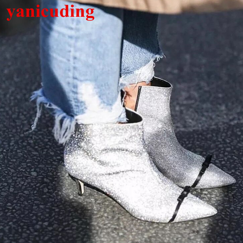 Pointed Toe Glitter Crystal Embellished Women Ankle Boots High Heel Side Zipper Short Booties Bow Tie Funky Trendy Brand Shoes pointed toe med heel women ankle boots side zip design women shoes pearl bling short booties belt decor luxury brand super star