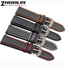 18mm 20mm 22mm 24mm Mens Watch Band Carbon Fibre Watch Strap with Red Stitched + Leather Lining Stainless Steel Clasp watchband