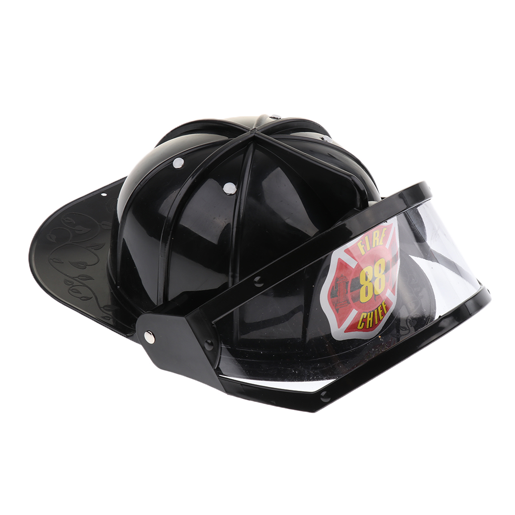 Children Fireman Helmet Firefighter Hat Fancy Dress Accessories Kids Halloween Party Role Play Toy –Black