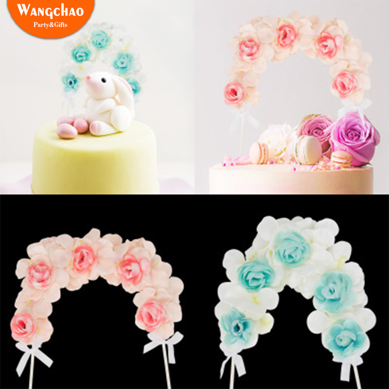 Detail Feedback Questions About Flower Arch Cupcake Topper Kids Happy Birthday Cake Toppers Wedding Party Decorations Adult Decoration 2 Colors