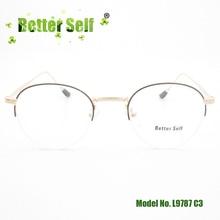 Better Self L9787 Metal Women Eyewear Frames Round Optical Clear Myopia Half Rim Designer Brand Spectacles Glasses