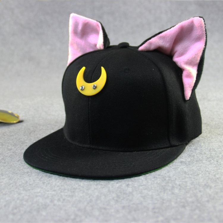 2016 calle encantadora Sailor Luna gato orejas Hip hop sombreros del deporte  gorras de béisbol Chapeu Vintage gorras planas senderismo Casquette cap en  ... 291bb810fdb