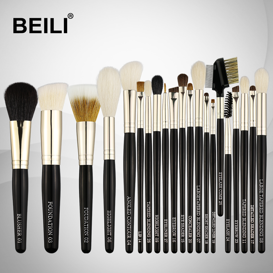 BEILI Weasel Goat Hair Horse Synthetic Blusher Powder Foundation Eye shadow liner Lip 21Pcs Professional Makeup Brushes Set