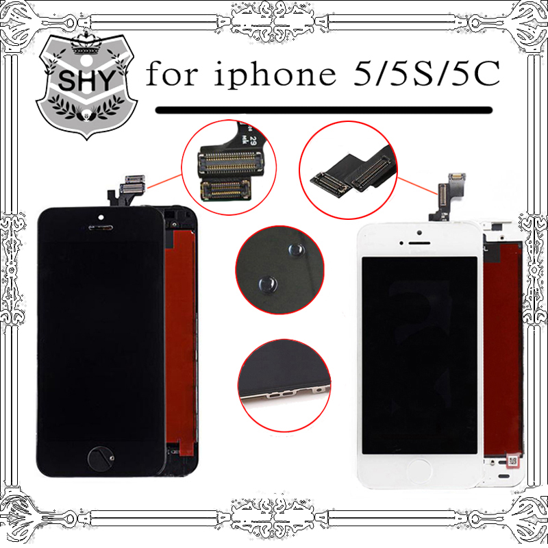 10pcs/lot 100% New LCD Digitizer For Apple iPhone 5 LCD Touch Screen Display Assembly Replacement White Black free shipping lcd screen assembly for apple iphone 4 4g lcd display touch screen digitizer pantalla with frame bezel replacement black white