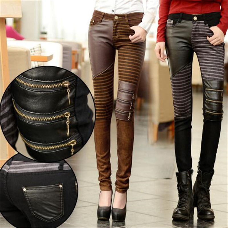 WKOUD Spring New PU Leather Pencil Pants Women Fashion Three Zip Patchwork Pants Casual Boot Trousers Skinny Streetpants P8794